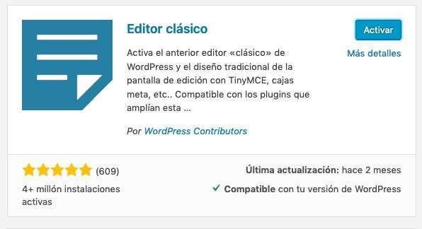 Cómo regresar al editor clásico de WordPress 2